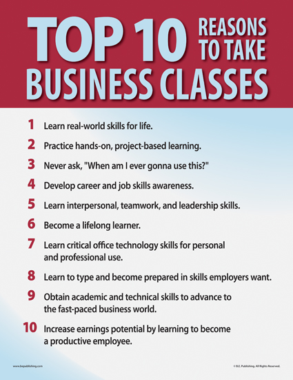 Top Ten Reasons to Take Business Classes